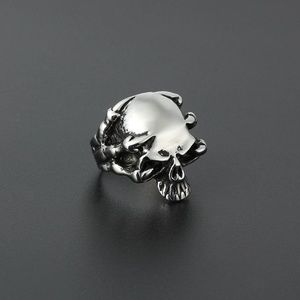 Mens Titanium Steel Skull Ring with Dragon Claw